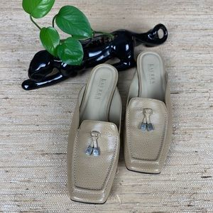 Lauren Ralph Lauren Kelsey Tan Leather Mules